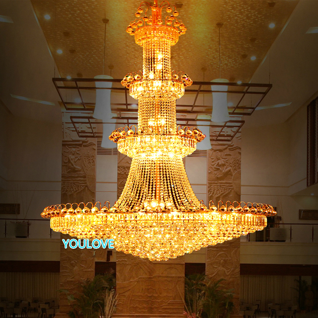 Led big gold crystal chandelier lights fixture modern crystal led big gold crystal chandelier lights fixture modern crystal droplights villa home stair hotal golden club aloadofball Gallery