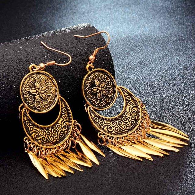Фото shuangr модные популярные золотистые металлические висячие серьги