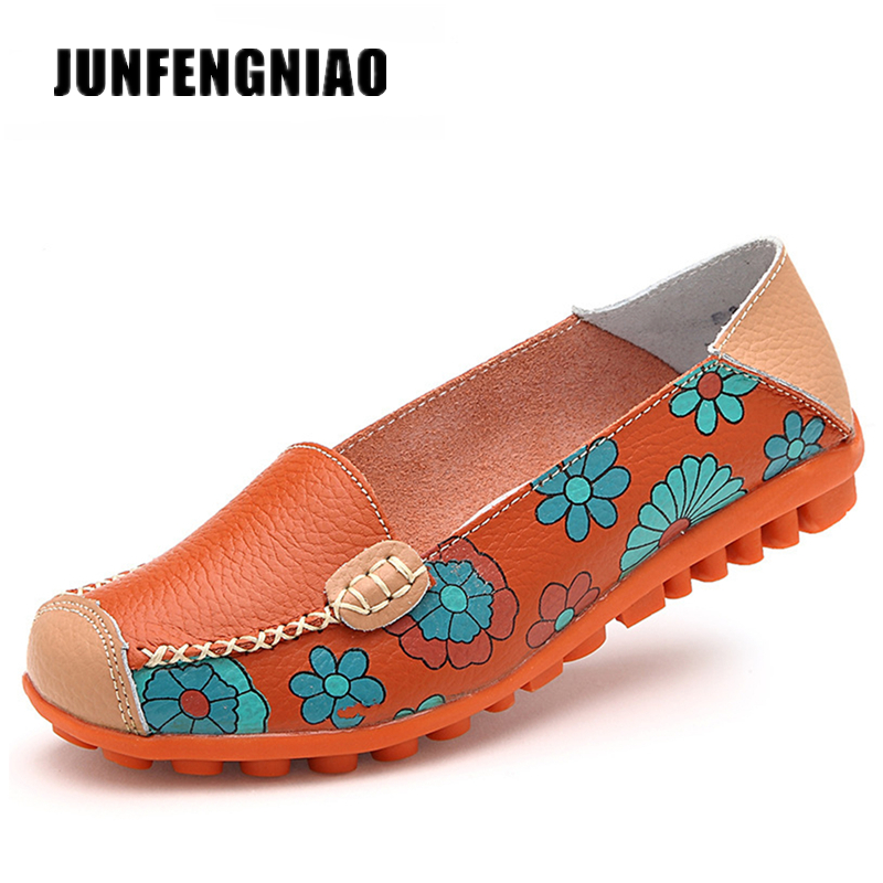New Fashion Women Shoes Flats Sandals Girl Ladies Mujer Summer Flower Genuine Cow Leather Casual PU Slip On Supersatar SKN-3591