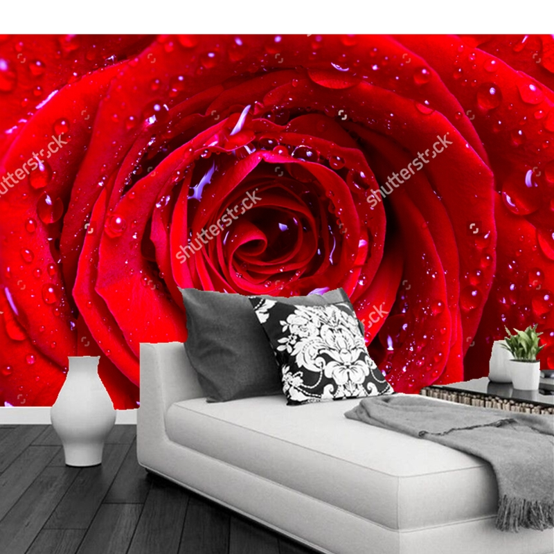 Custom Flowers Wallpaper 3D, Red Rose Murals For The Living Room Bedroom TV Background Waterproof Wallpaper