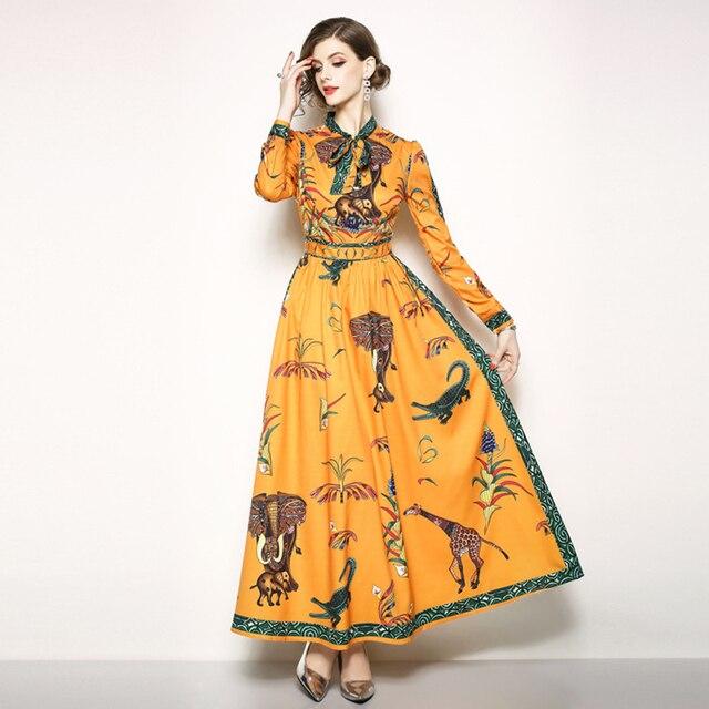 07345ef433 Women Ethnic Long Dress Autumn 2018 Large Sizes 3XL Animal Floral Print  Orange Bow Expansion Elegant Lady Maxi Dresses Vestidos