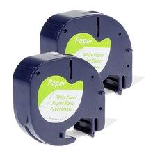 2 шт./лот 12 мм * 4 м 91200 черный на белом совместимый DYMO LetraTag Метка Ленты бумаги для этикеток DYMO ленты для принтеров
