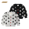 2016 New Autumn/Winter Kids Clothes Boys Jackets Fashion Brand Children's Clothing Baby Boy Skulls Printed Fleece Cardigan Coats