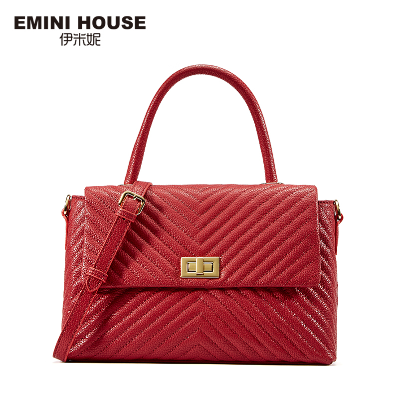 EMINI HOUSE Fashion Split Leather Litchi Grain Flap Bag Handbags Women Bags Designer Women Messenger Bags Roomy Shoulder Bag серьги fashion house даниэлла цвет серебряный белый