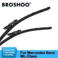 BROSHOO Автомобильная Щетка стеклоочистителя резиновая для Mercedes Benz ML Class W164 W166 ML63 ML300 ML350 Fit Pinch Tab/кнопочные ручки 2005 до