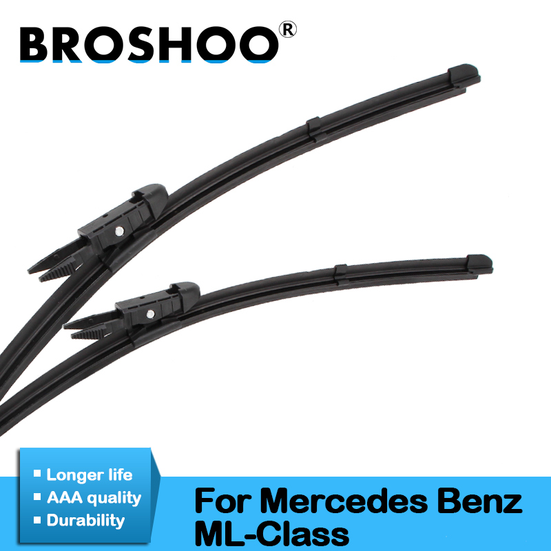 BROSHOO Car Wiper Blade Rubber For Mercedes Benz ML Class W164 W166 ML63 ML300 ML350 Fit Pinch Tab/Push Button Arms 2005 To 2016