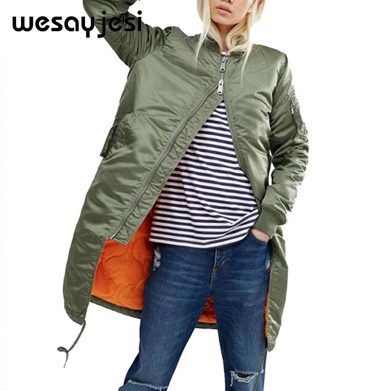 Winter long   jackets   and coats 2018 spring female coat casual military olive green bomber   jacket   women   basic     jackets   plus size