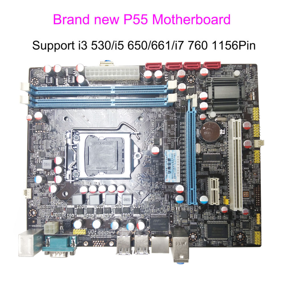 Brand New in Box Motherboard P55 LGA 1156 Pin For Core I3 530 560 I5 650 750 661 i7 860 870 Micro ATX DDR3 Computer Mainboard ...