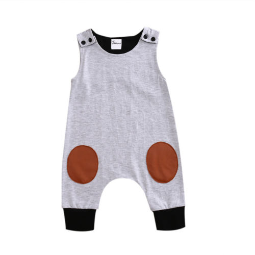 924285b13c9 Cute Baby Kids Boy Infant Romper Jumpsuit Summer Sleeveless Cotton Gray  Rompers Playsuit Clothes Outfit 0-24M