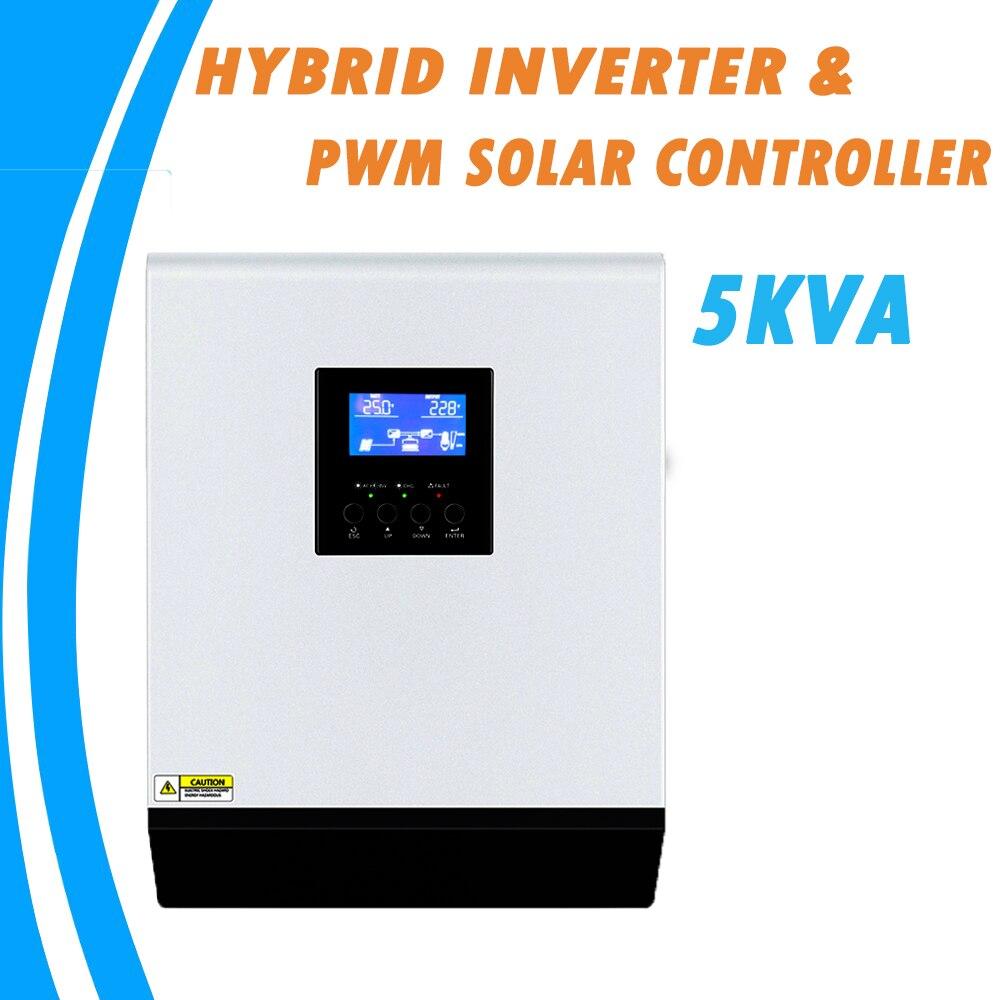 48 5KVA Híbrido Onda Senoidal Pura Inversor Solar 220V V 50A Embutido PWM Controlador de Carga Solar e Carregador AC para Uso Doméstico PS-5K