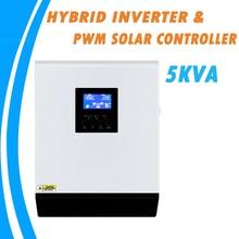 Inversor híbrido, 5kva híbrido onda senoidal pura inversor solar 48v 220v pwm 50a embutido controlador de carga solar e carregador ac para uso doméstico PS 5K