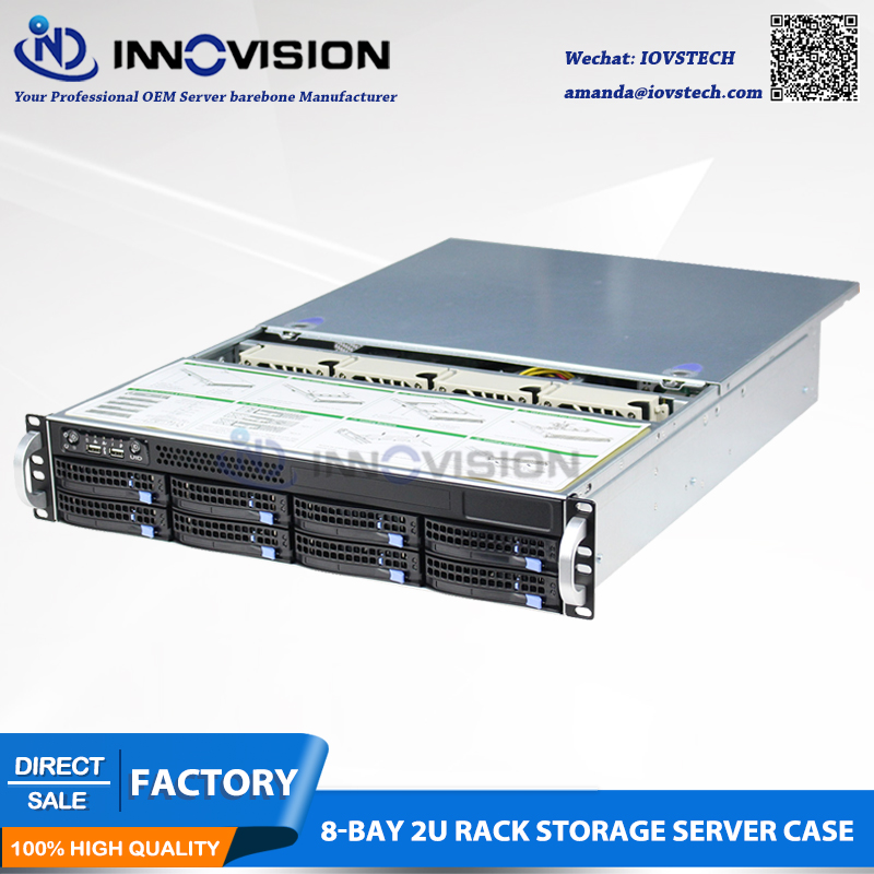 2U 8bays hot swap rack server Chassis with 6gbps backplane S26508 and 650W redundant psu with