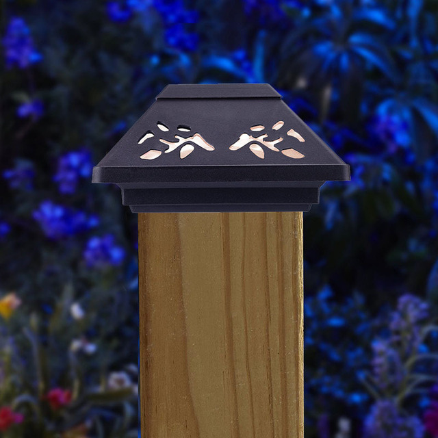 New Solar Stakes Light Hollow Plastic Column Head Lights Outdoor Fence  Pillars Cap Lights