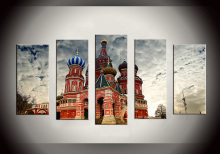 Fashion 5 Pieces Canvas Wall Art Home Decoration Pictures Castle series For Living Room Wall Art XYZ-HX-073 стоимость