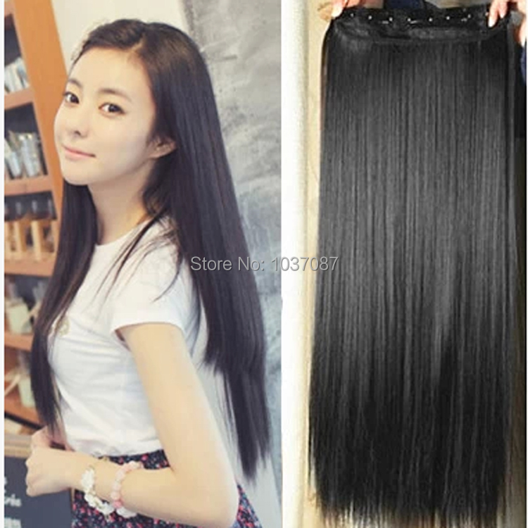 60 cm mutil color clip hair extension blonde synthetic hair natural long straight synthetic hair. Black Bedroom Furniture Sets. Home Design Ideas