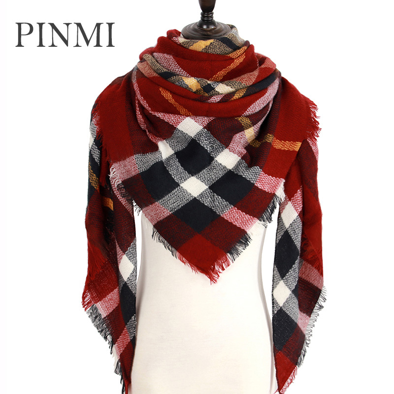 Za Winter Plaid   Scarf   Women 2018 Soft Warm Cashmere   Scarves     Wraps   Lady Blanket Pashmina   Scarf   Luxury Brand Fashion Wool Shawls