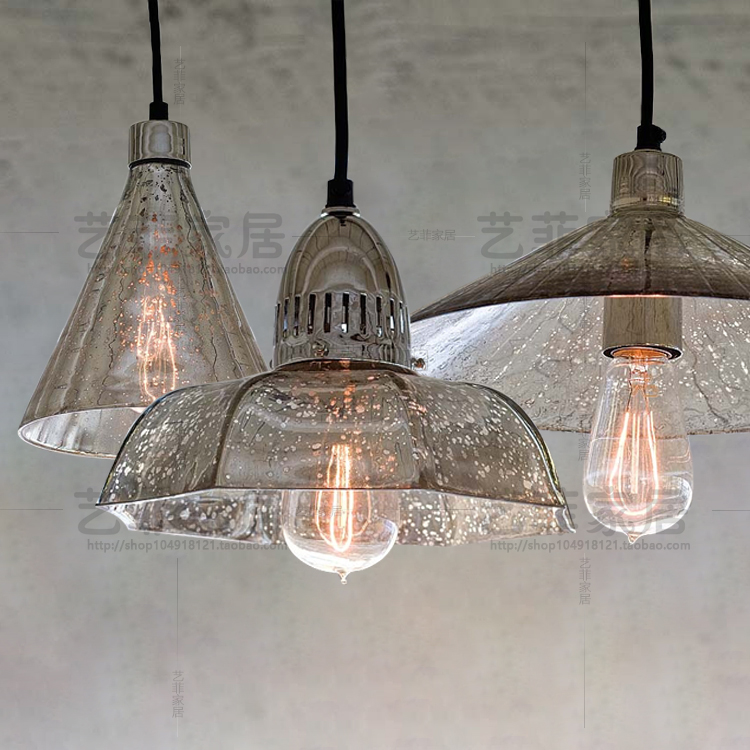 retro industrial loft antique mercury glass pendant light coffee shop single restaurant hanging light lamp one light frosted glass antique rust hanging lantern