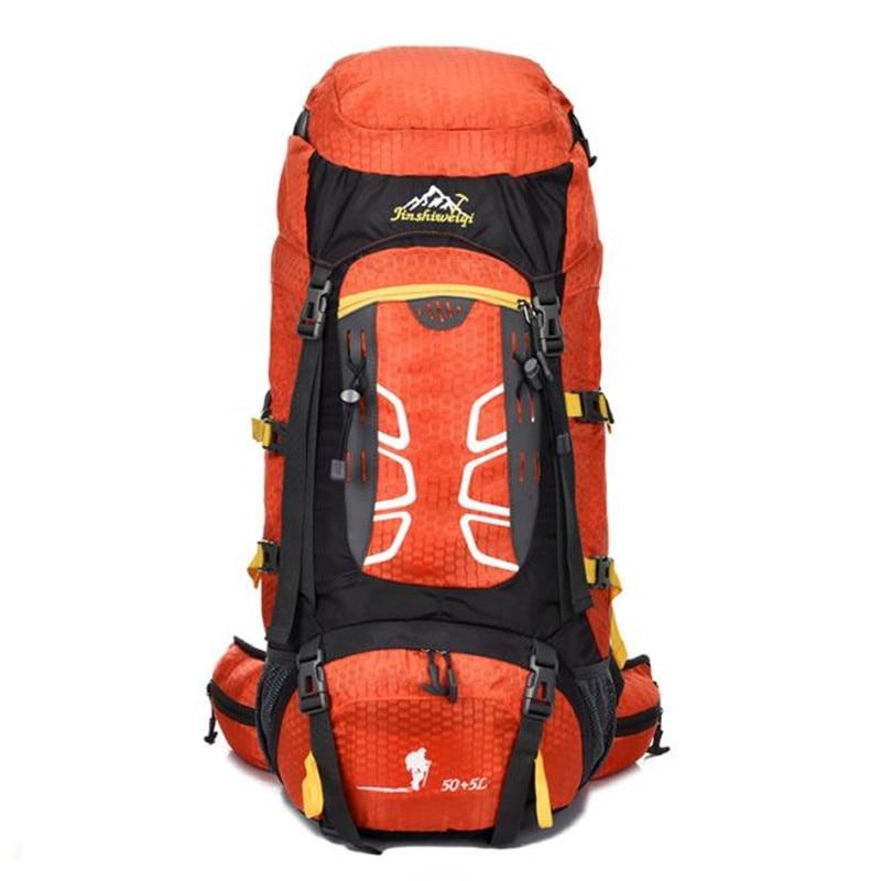 Prix pour 55L Sac À Dos Plein Air Randonnée Sac de Camping Voyage Étanche Pack Alpinisme orange Dec29