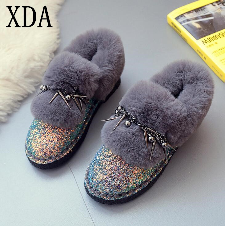 XDA 2018 new fashion Winter Women Snow Boots High Quality Suede ankle Boots Warm Casual Shoes Woman tassel Fur Boots