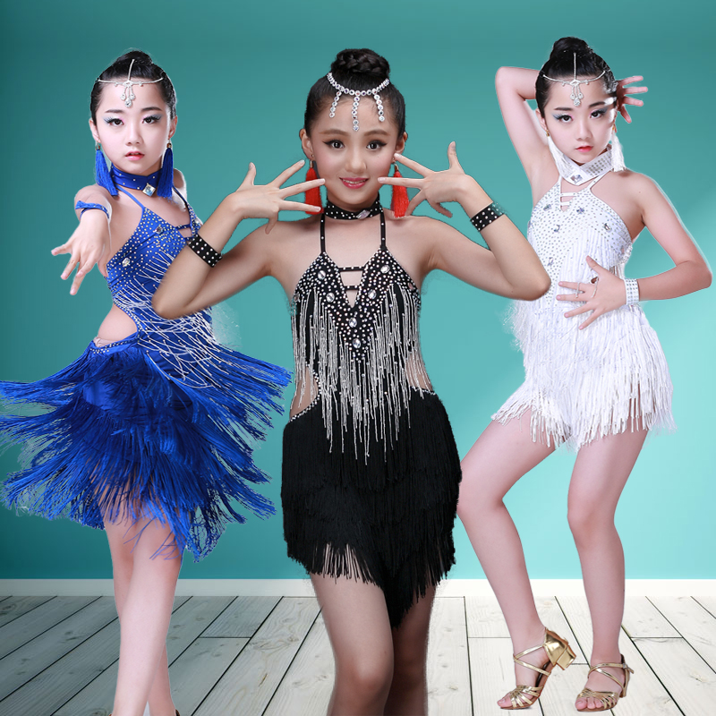 Newest Girls Sleeveless Standard Latin Competition Dress Children Modern Dance Ballroom Salsa Rumba Tango Samba Cha Cha Costumes