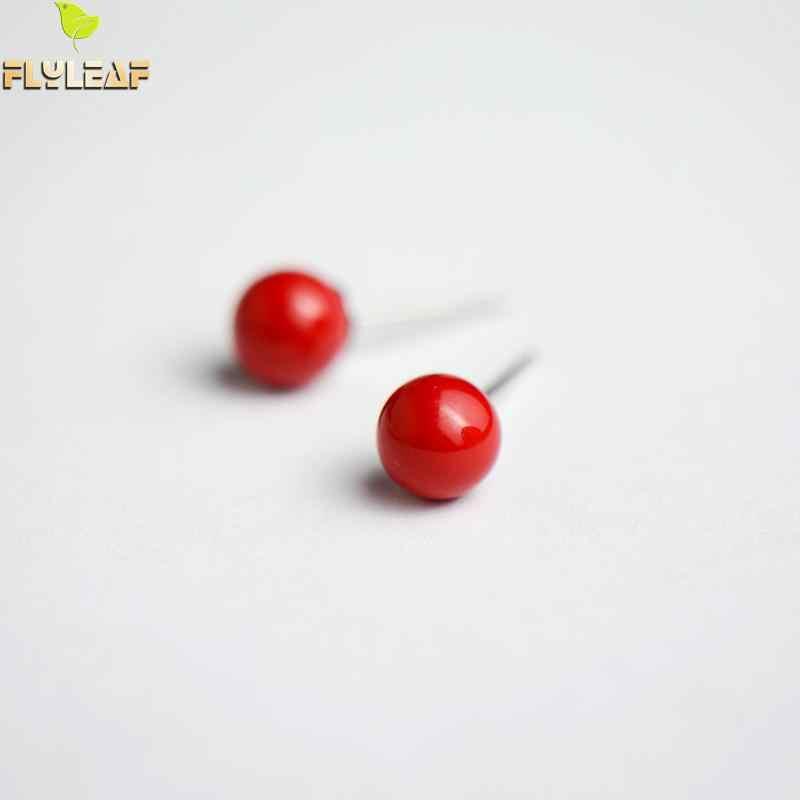 Flyleaf 100% 925 스털링 실버 트렌드 레드 콩 비즈 스터드 귀걸이 여성을위한 간단한 레이디 패션 쥬얼리