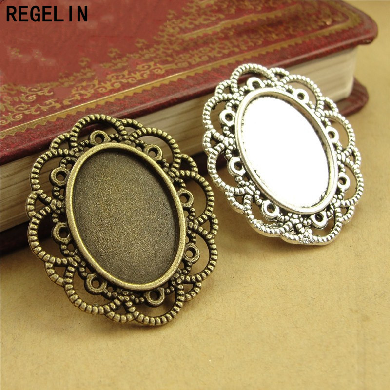 REGELIN Oval Pendant Settings Cabochons Bases Blank Bezel Trays 10pcs/lot Fit 13x18mm Cabochon Cameo DIY Necklace Findings
