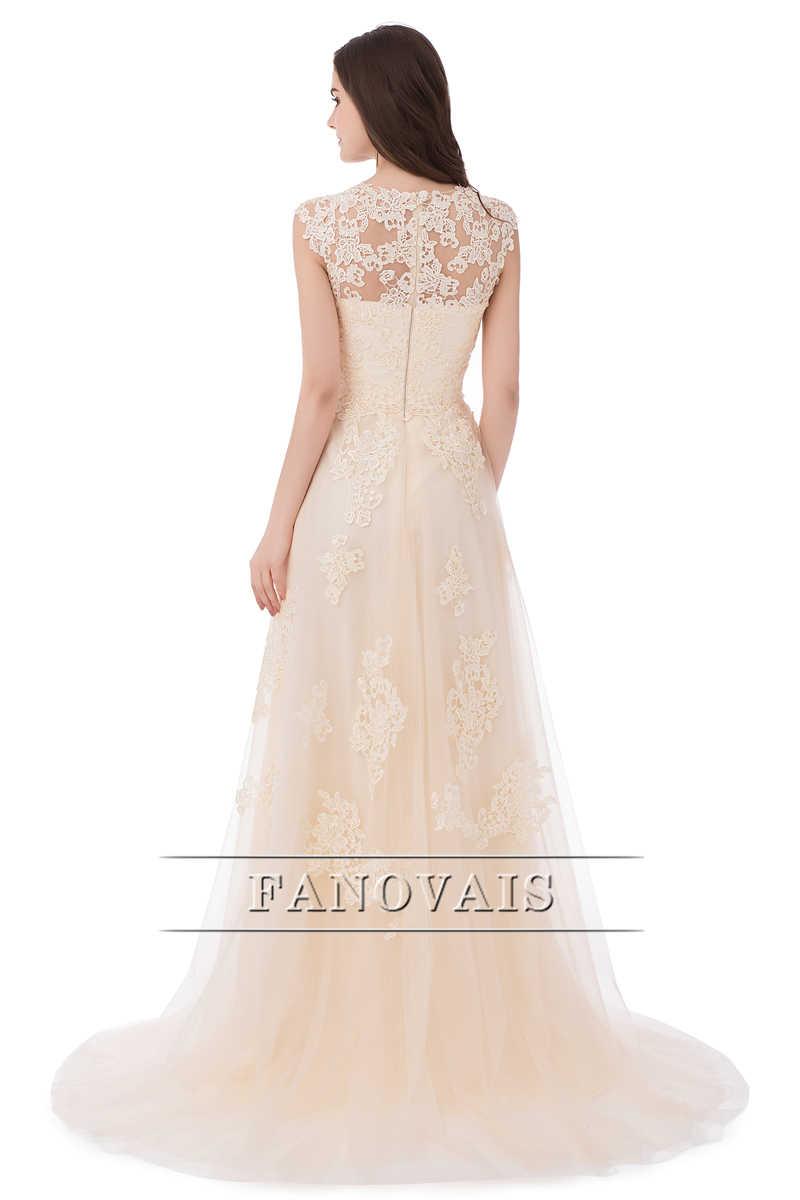 תמונה אמיתית שמלת כלה זולה אפליקציות לקו צווארון V טול טאטא רכבת ארוכות שמלות כלה שמלות כלה Vestido דה Novia FW14
