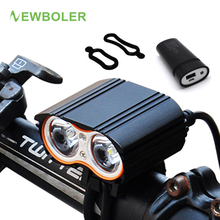 купить Bicycle Light 5000 Lumen 2x XM-T6 Cycling Headlight LED Flashlights Bike front Lamps Battery USB Charger Accessories по цене 1432.24 рублей