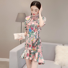 2018 new arrival chinese female qipao short style cheongsam women traditional silk satin dress dragon&phenix
