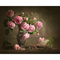 Frameless Vintage Flower DIY Painting By Numbers Acrylic Picture Hand Painted Oil Painting Wall Art Canvas