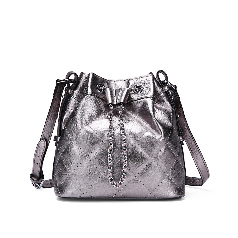 Luxurious Lambskin Diamond Lattice Bucket Bag Small Top Designer Brand Sheepskin Women Shoulder Crossbody Bag Leather