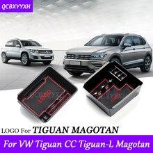 StylingFor VW Magotan CC Tiguan 2010-2017 LHD Coche Caja De Almacenamiento Apoyabrazos de Centro Consola Cubre Decoración de Interiores Accesorios de Automóviles
