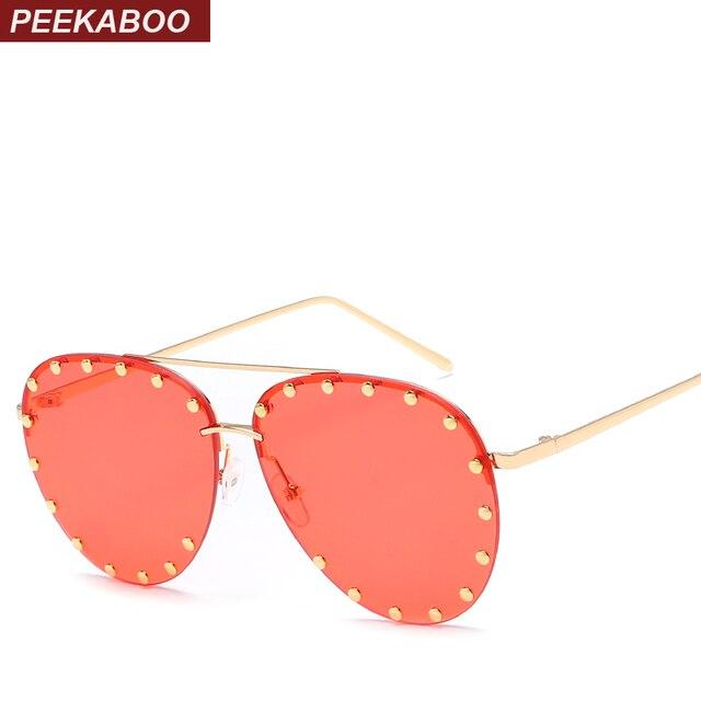 Peekaboo rebite homens verão meia de armação de metal óculos de sol com  lentes vermelho rosa ce32ff8736