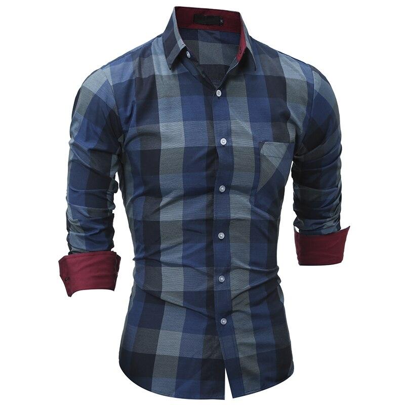 New Fashion Men S Plaid Casual Shirt Men Clothes Slim Fit Men Long Sleeve Shirt Cotton