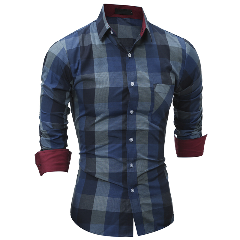 New Fashion Men S Plaid Casual Shirt Men Clothes Slim Fit Men Long Sleeve Shirt Cotton