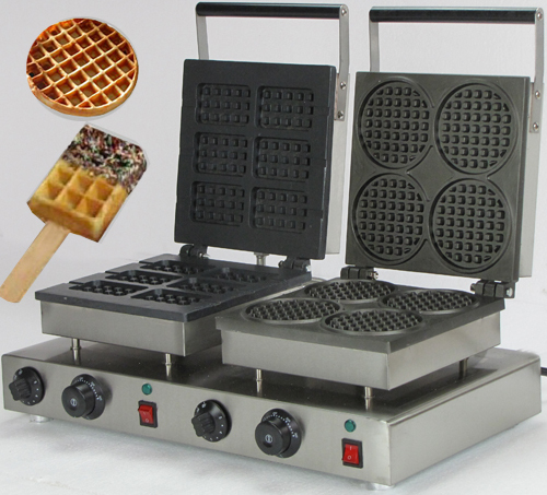 two bakers commercial rectangle custom waffle iron_round waffle maker directly factory price commercial electric double head egg waffle maker for round waffle and rectangle waffle