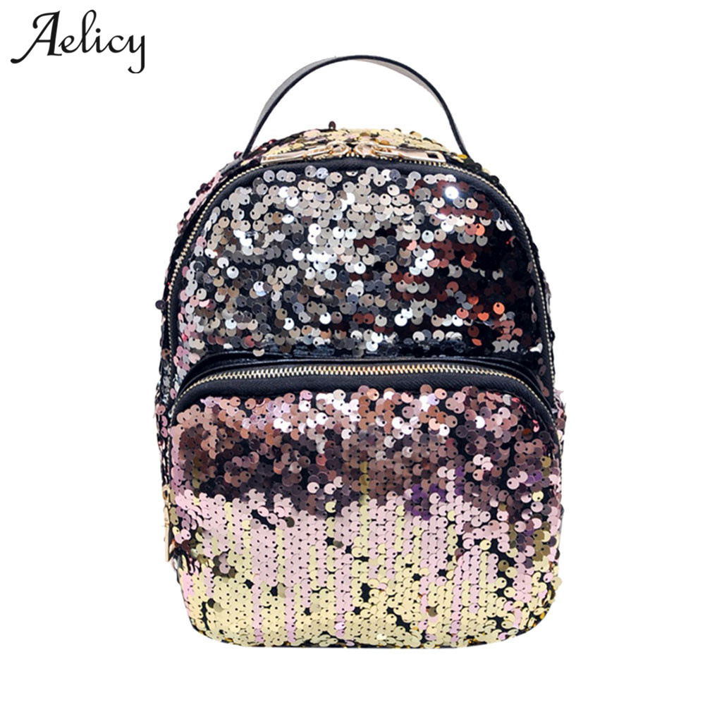 Aelicy Luxury New Arrival Women All-match Bag Women Backpack Fashion Korean PU Leather Sequins Small Bling Backpacks 2017 new women girl children all match bag pu leather sequins backpack girls small travel princess bling backpacks