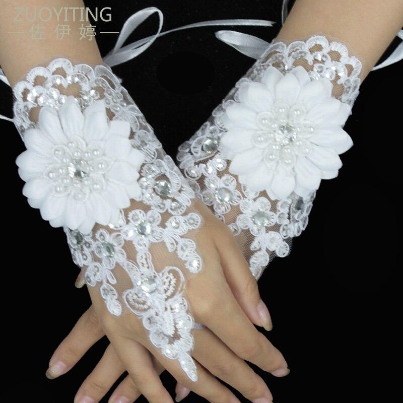 100% QualitäT Zuoyiting Heißer Verkauf Finger Handgelenk Länge Spitze Appliques Weiß Braut Hochzeit Handschuhe Mit Perlen Und Blume Hochzeit Zubehör