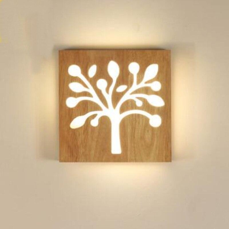 Applique murale moderne en bois puce LED acrylique arbre café bar restaurant magasin décoration TV lampe de chevet AC110-265V luminaire