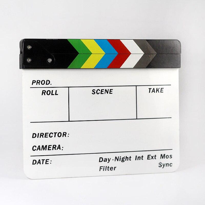 Nova chegada colorida clapperboard clapper board acrílico seco apagar diretor filme tv ação ardósia clap artesanal corte prop