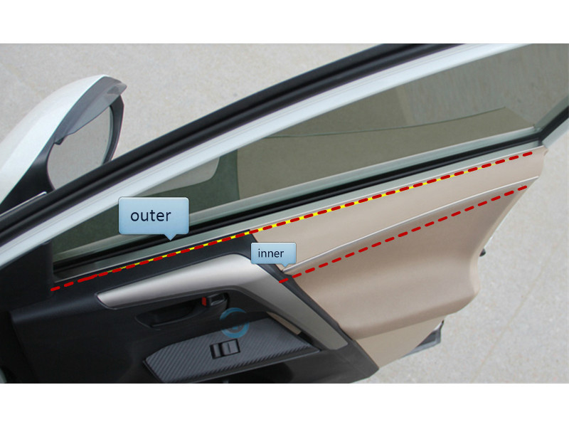 Inner & outter door stripe trim 8pcs For toyota rav4 2013 2014 inner decorative trim inner door handle trim fit for toyota yaris l 2013 2014 abs chrome 4pcs per set