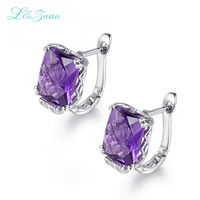 I&Zuan New Design Rectanle Shape Earrings 925 Sterling Silver Fine Jewelry Amethyst Purple Clip Earrings For Women Party Gift