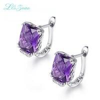 I&Zuan New Design Rectanle Shape Earrings 925 Sterling Silver Fine Jewelry Amethyst Purple Clip Earrings For Women Party Gift