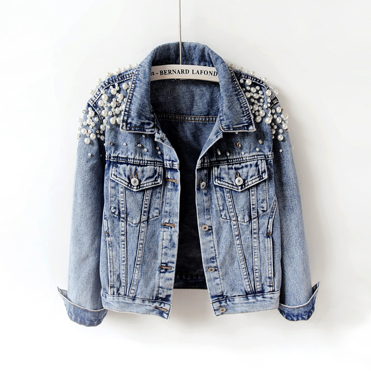 Spring Autumn Women   Basic   Coats Women Denim   Jacket   Pearls Beading Fashion Jeans Coat Loose Long Sleeve   Jackets   898