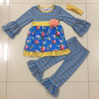 Fall Winter Flower Popular Stripe Sleeve Dress Kids Ruffle Pants Boutique Outfits Toddler Girls Cotton Outfits Clothing Sets