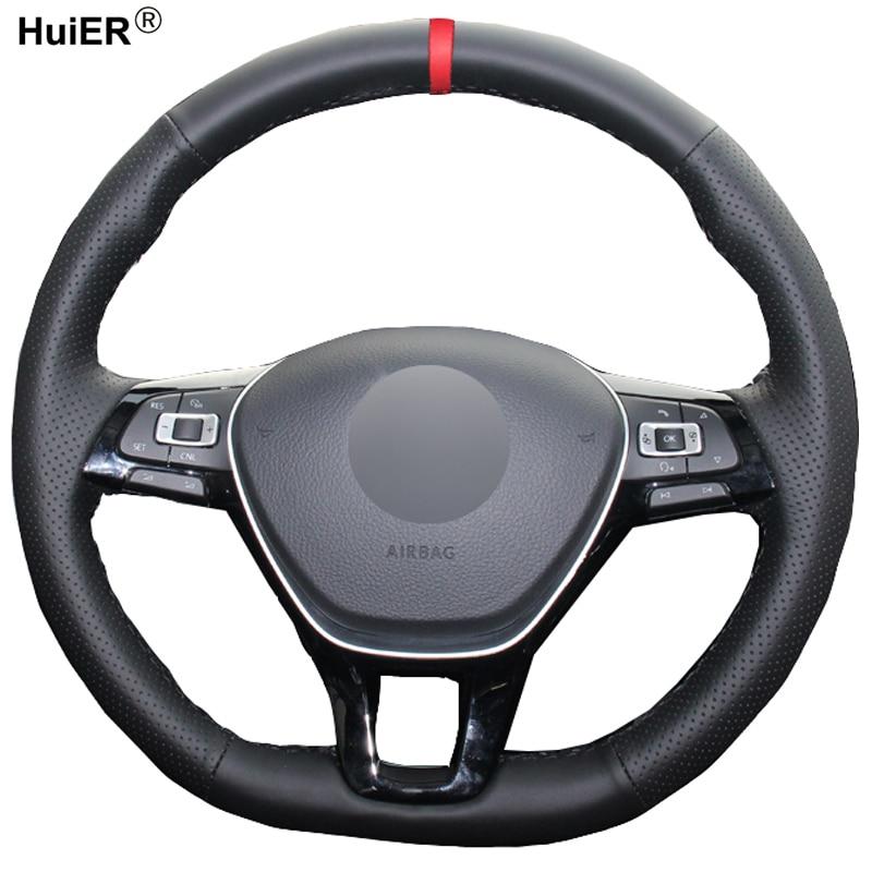 Volant de Volant de voiture à coudre à la main pour Volkswagen VW Golf 7 Mk7 nouvelle Polo Jetta Passat B8 Tiguan Sharan Touran antidérapante