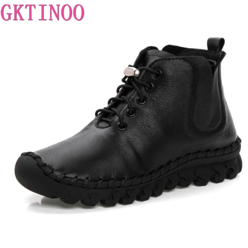 GKTINOO New Women Genuine Leather Boots Vintage Style Flat Booties Soft Cowhide Women's Shoes Handmade Ankle Boots Female Winter цена