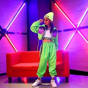 Image 4 - Dla dzieci taniec Hip Hop nosić dziewczyny Jazz nowoczesny taniec kostiumy fluorescencji odzież garnitury dla dzieci kostiumy sceniczne stroje DQS2135