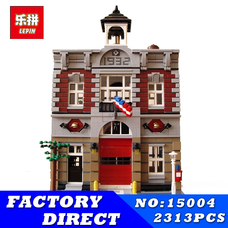 LEPIN 15004 2313Pcs City Creator Series Fire Brigade Model Building Blocks Bricks Toys for Children Gift Compatible 10197 0367 sluban 678pcs city series international airport model building blocks enlighten figure toys for children compatible legoe