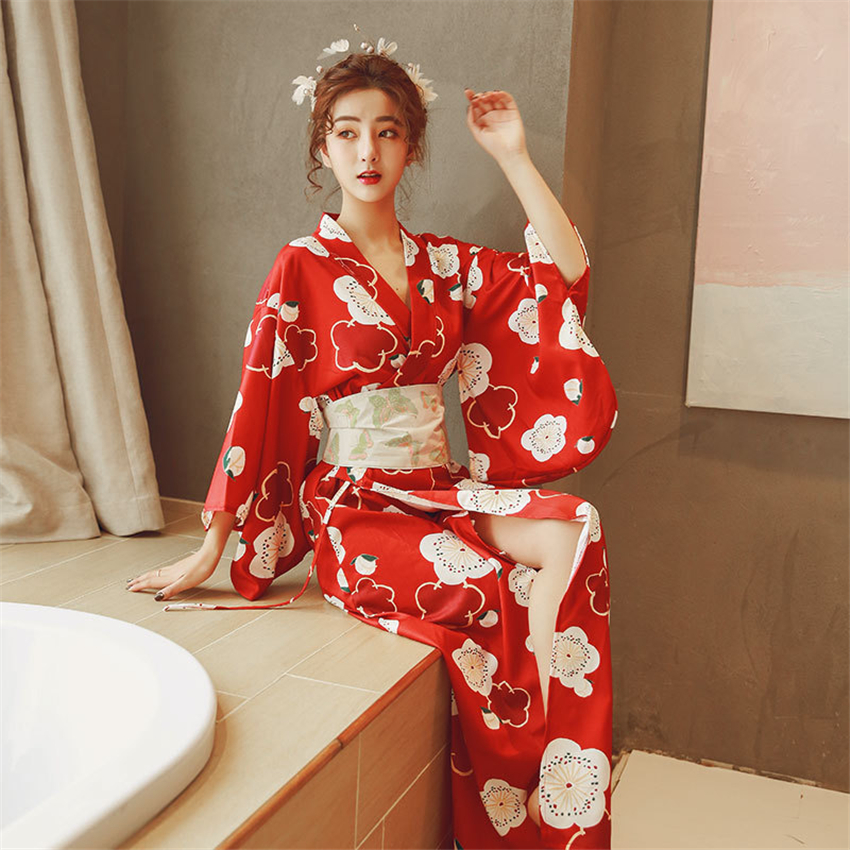 Japanese Traditional Kimono Yukata For Woman Sexy Floral Printed Evening Party Dress Obi Photography Elegant Sakura Cosplay